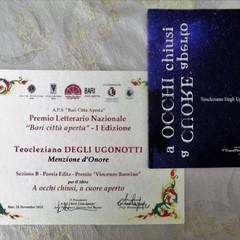 """Teo Ugone durante la cerimonia di premiazione al concorso nazionale """"Bari Città Aperta"""""""