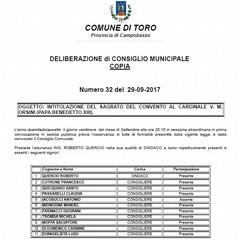 DELIBERA DEL CONSIGLIO COMUNALE DI TORO Foto