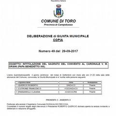 DELIBERA DELLA GIUNTA MUNICIPALE DI TORO Foto