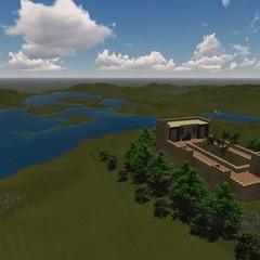 Il castello con lo sfondo del lago La Pescara Foto