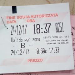 Multata auto su strisce blu con regolare ticket