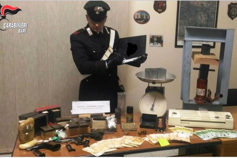 Droga armi e soldi sequestrati dai Carabinieri