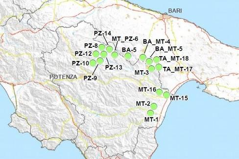 Mappa di Puglia e Basilicata