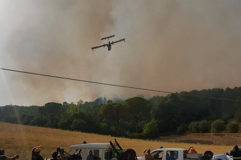 mezzi in azione per incendio bosco