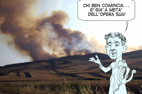 vignetta incendio bosco- democratici sempre