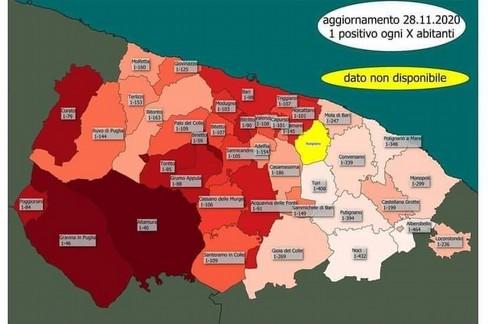 tabella Positivi covid provincia di Bari