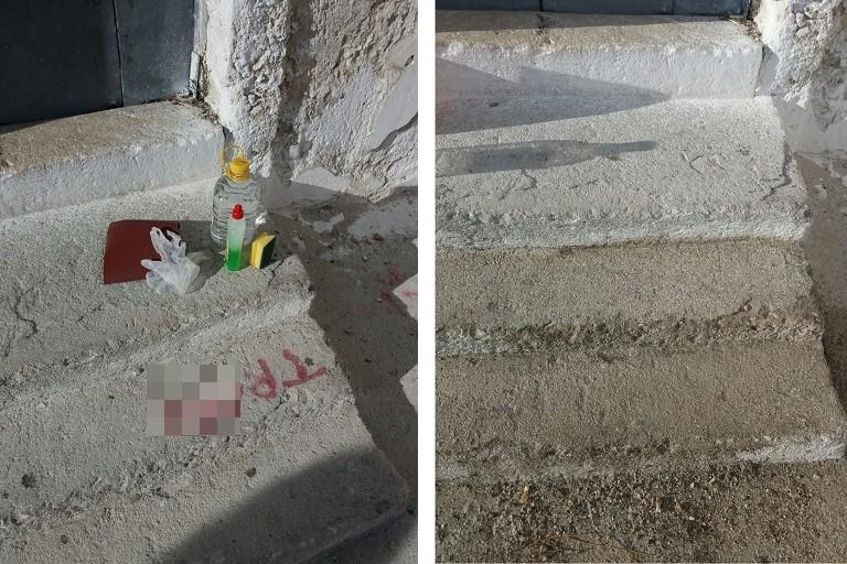 Scritte blasfeme sui gradini di Santa Lucia rimosse